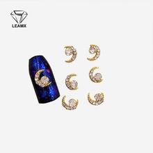 10Pcs 3D Nail Art Decorations Metal  Moon and starsGlitter Rhinestones Nails Charms Diamonds For Manicure Decor недорого
