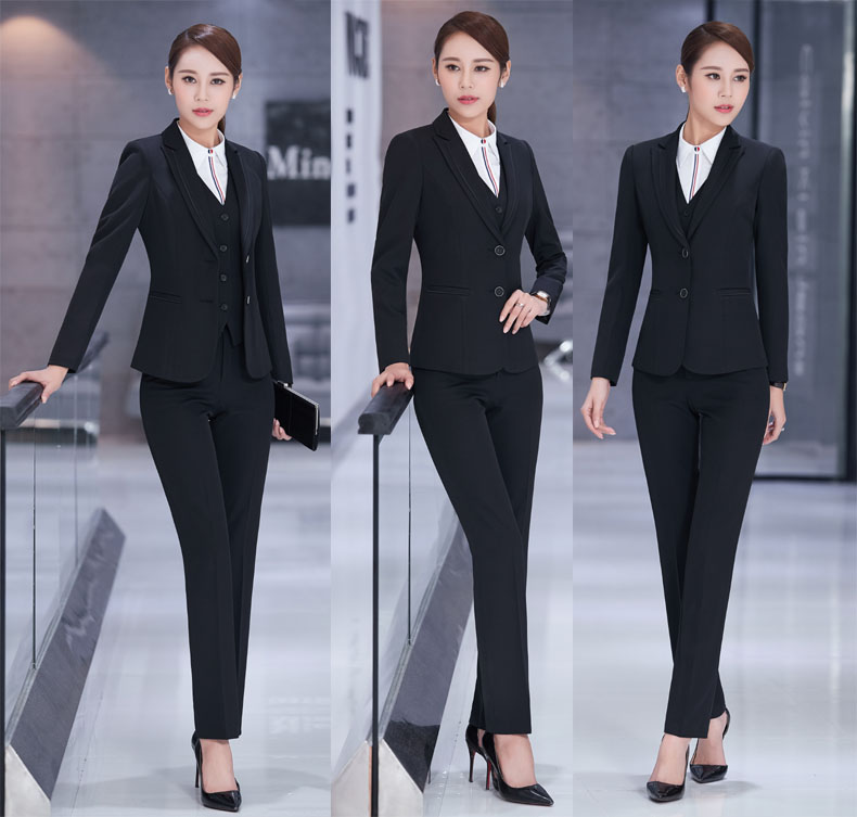 Trousers Wear With Pantsuits And Work Elegant Office Jackets Pants Blazers Sets Black Ladies Formal Female Professional Ozwn44a