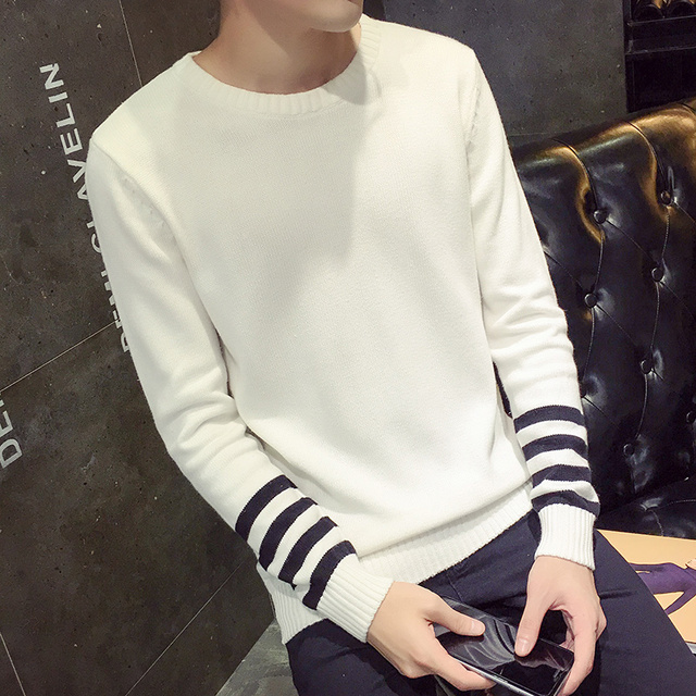 Autumn long sleeved striped sweater youth round neck Pullover pure ...