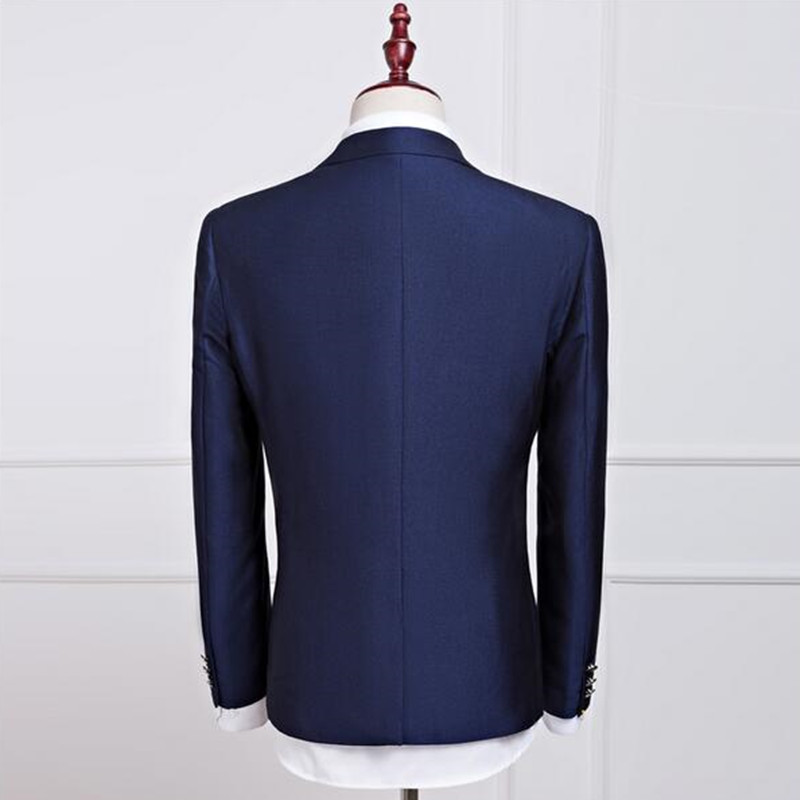 Fashion classic men s suit dark blue suit collar single-breasted men s  office suite and groomsmen 707fee44d28f