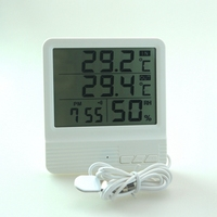 New Indoor Outdoor Temperature Meter Indoor Hygrometer Humidity Meter Gauge Alarm Clock Calendar With Temperature Sensor