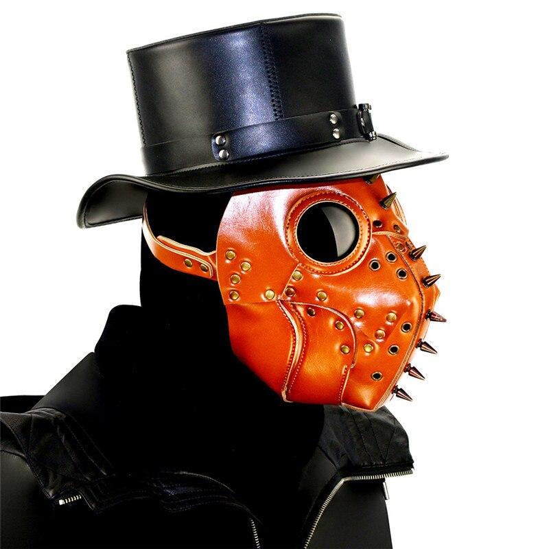 Rivet marron masque Steampunk masque gothique en cuir PU masque la peste docteur oiseau masque Halloween accessoires Vintage accessoires Cosplay