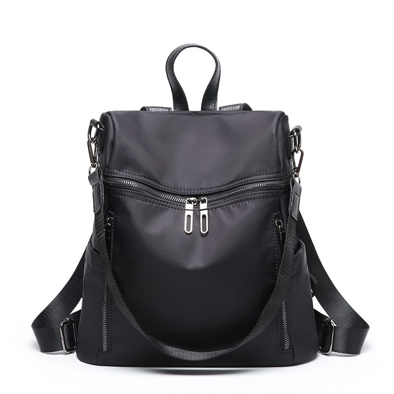 High Quality Waterproof Nylon Women Backpack Fashion Solid School Bags For Teenager Girls Casual Women Black Backpacks