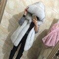 2016 Primavera new mulheres com capuz de pele casaco de imitação de pele de raposa de prata colete de pele plus size senhoras casaco de pele de raposa