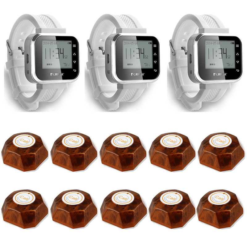 3pcs Hot Sale White Waiter Service Calling System Watch Pager Service System (KR-C166) + 10pcs F61 Wireless Transmitter one set wireless system waiter caller bell service 1 watch wrist pager with 5pcs table customer button ce passed