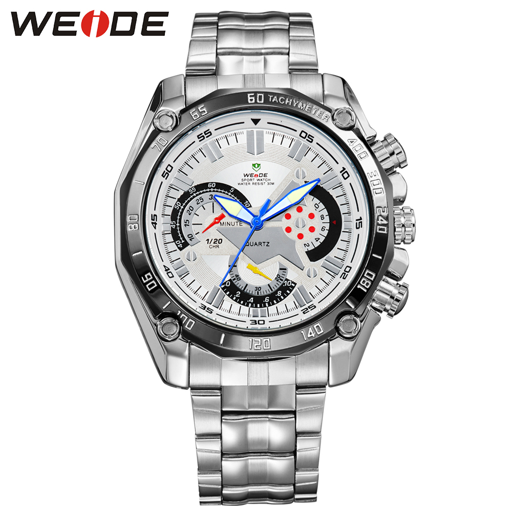 WEIDE Brand The Best Sell Men Sport Watch Japan Quartz Movement 3ATM Water Resistant White Dial With Stainless Steel Strap 1011 relojes full stainless steel men s sprot watch black and white face vx42 movement