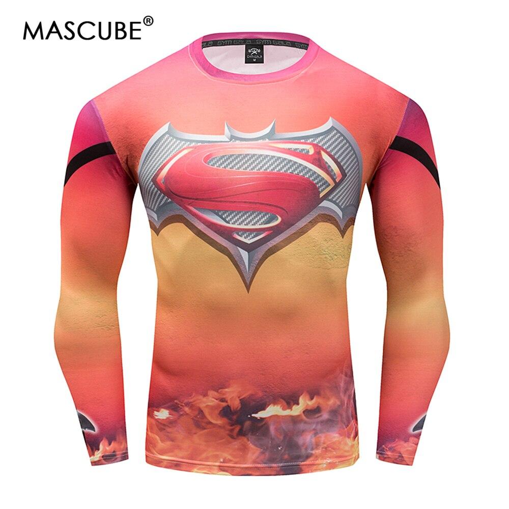 MASCUBE Hot Sale Fitness MMA Compression Shirt Men Anime Bodybuilding Long Sleeve Crossfit 3D Superman Batman T Shirt Tops Tees