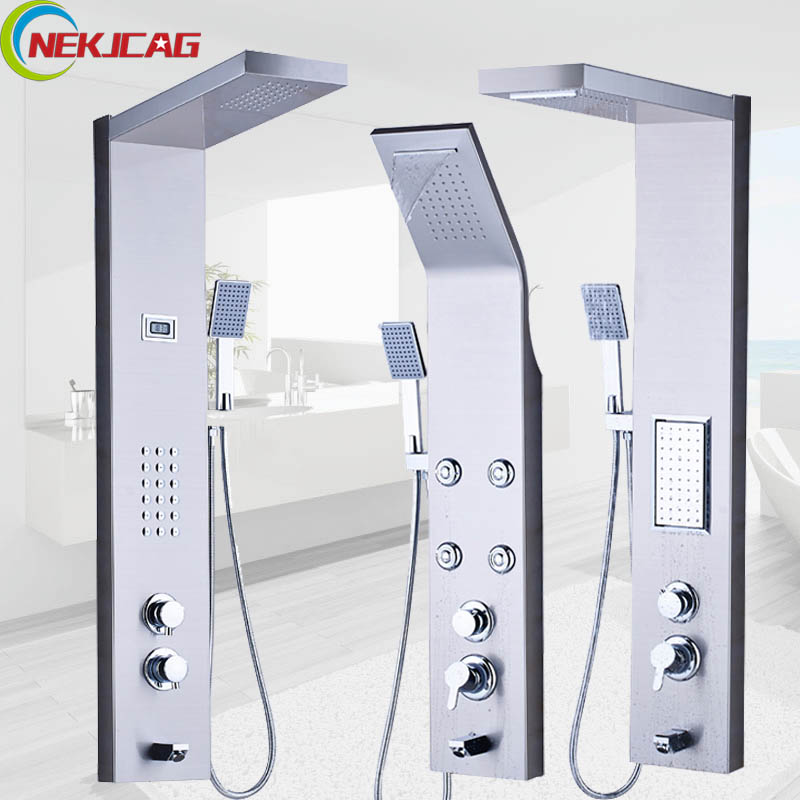 цена на Thermostatic Rain Waterfall Shower Panel Stainless Steel Tower Shower Column Massage System Multifunction Outlet Water Faucet