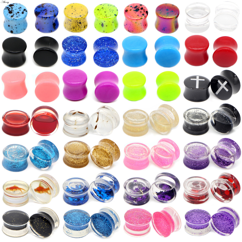 Expander-Earring Stretcher Liquid Tunnels Piercing Body-Jewelry Goldfish-Ear-Plugs Acrylic