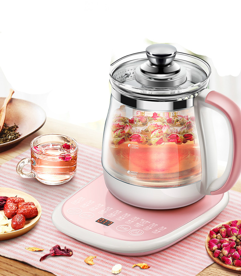 health pot automatic Add thick glass electric heating kettle boiled tea ware flower teapot Safety Auto-Off Function glass electric kettle boiling tea ware fully automatic health raising pot art furnace safety auto off function