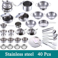 New 1 Set 40 Pcs Pretend Play Toy Stainless Steel Children Toy Miniature Cooking Set Simulation Tableware New Year Gift Xmas