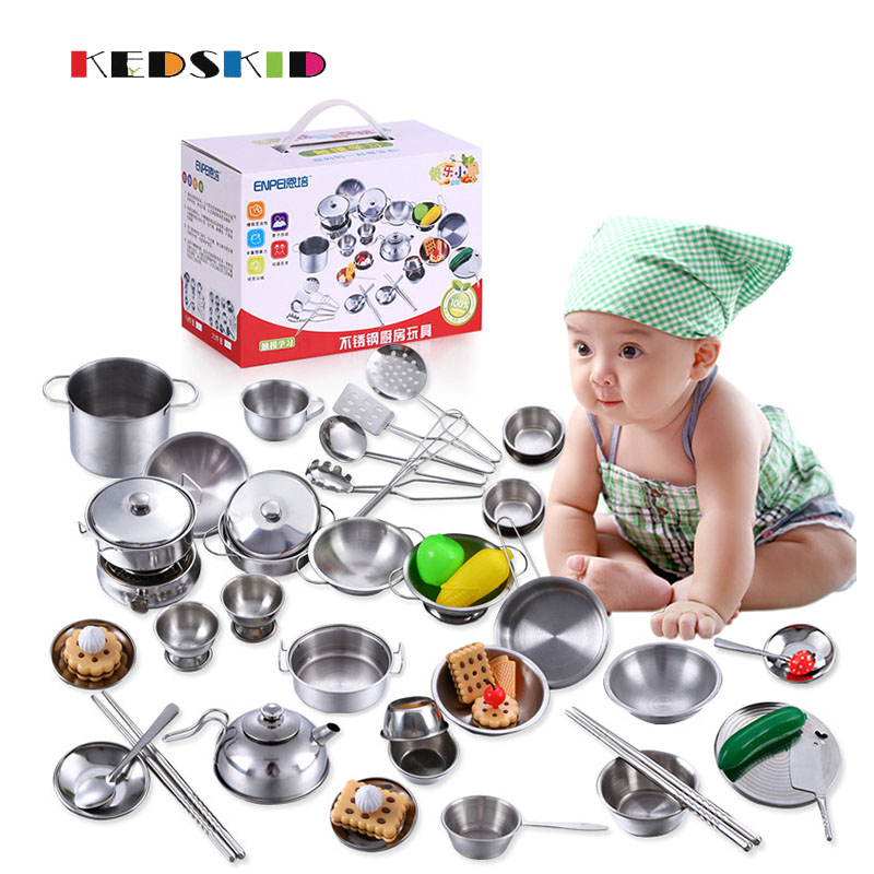 16 Pcs New Stainless Steel Cutlery Baby Play House Simulation Tableware/early Childhood Toys For Kitchen Cutlery Quell Summer Thirst Toys & Hobbies