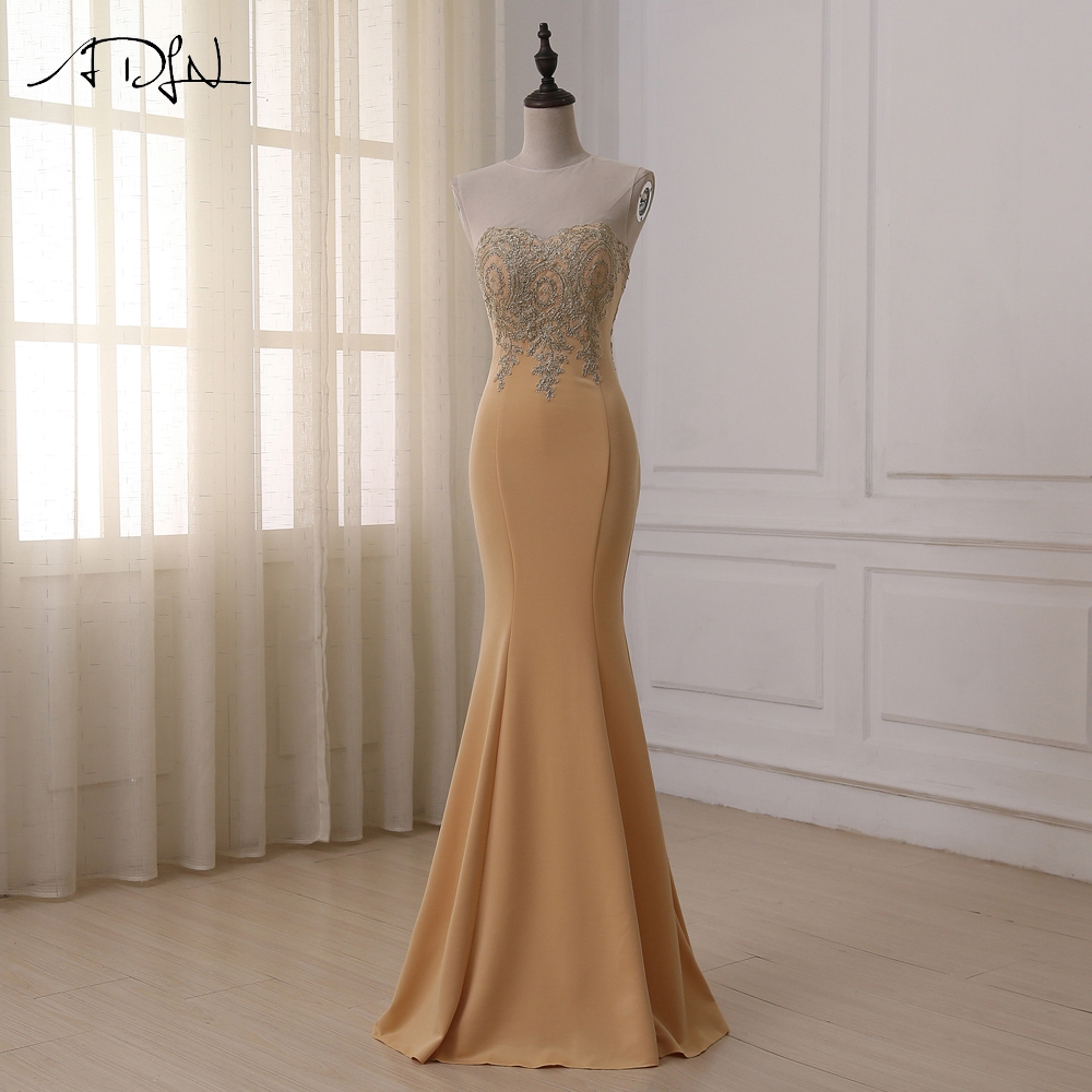 ADLN Cheap Stock Evening Dress Gold Applique Cap Sleeve Floor Length Champagne Mermaid Formal Dresses Prom Gowns Plus Size