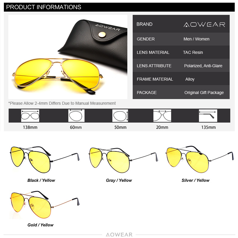 AOWEAR Clássico Ray 3025 óculos de Visão Noturna de Condução Óculos de Lente  Amarela Óculos de Visão Noturna Motorista óculos de Sol Dos Homens  Polarizados ... 789f409927