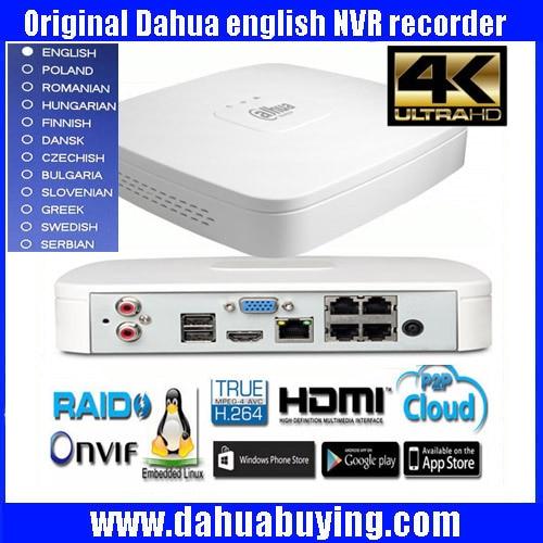 Originale versione egnlish Dahua DHI-NVR4104-P-4KS2 IP Network Video Recorder con up 4ch Full HD supporto NVR4104-P-4KS2