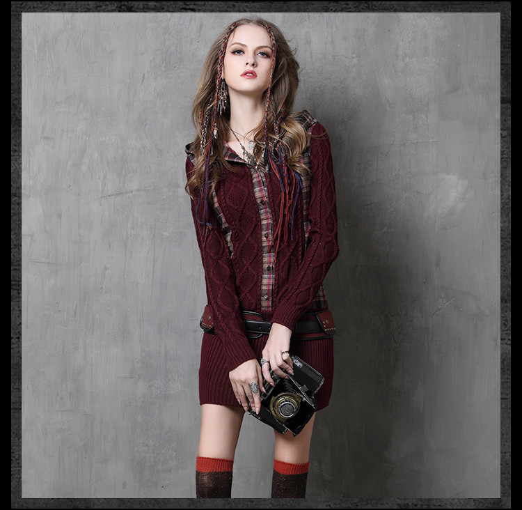 Original Design 2018 Autumn Winter New Hooded Plaid Retro Thickening Long Sleeved Knitted Mini Dress 2018 autumn