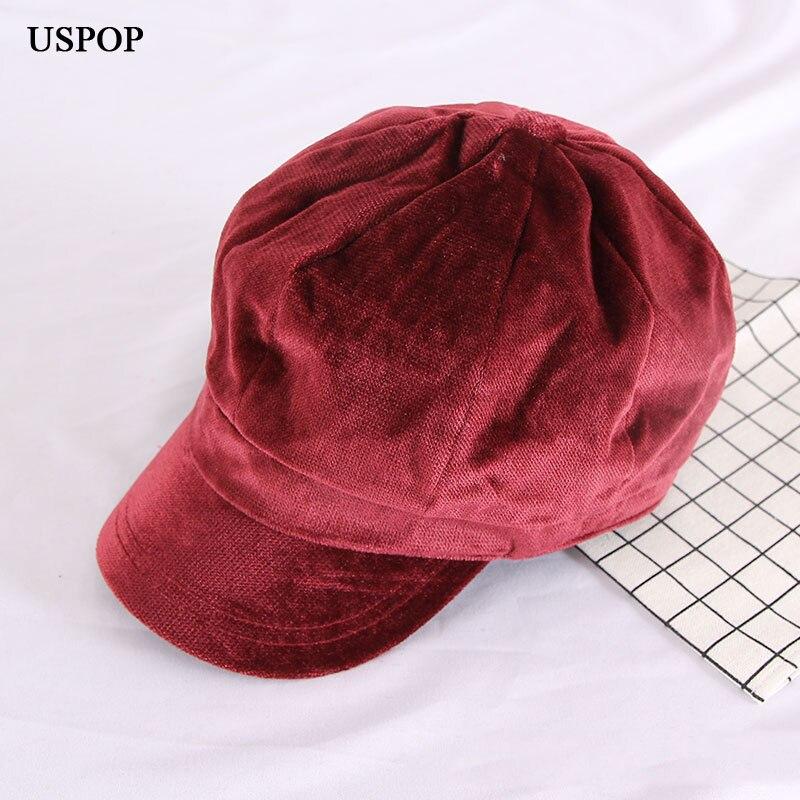 dedea274bbee USPOP 2019 Invierno Caliente sombreros mujeres terciopelo octogonal  sombrero color puro retro gorra ...