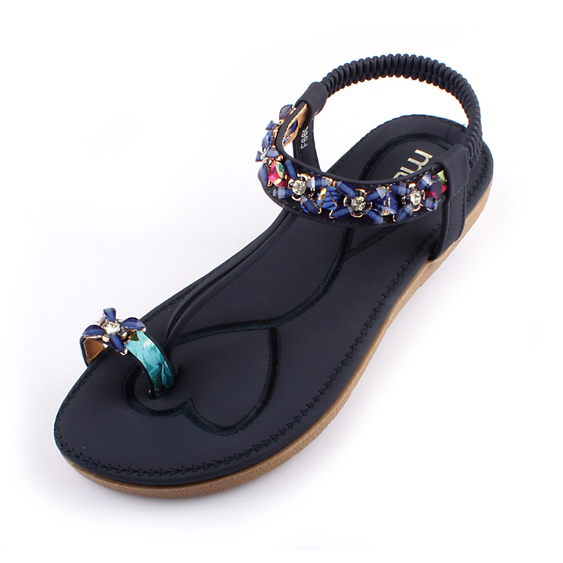 2017  Bohemia sweet women sandals beaded stone Rhinestone female sandals Rome flat sandwich toe women's  white sandals size 41 2016 fashion summer women flat beaded bohemia ppen toe flat heel sweet women students beach sandals o643