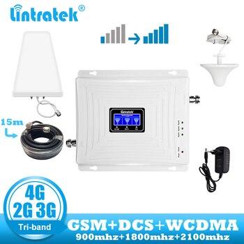 Lintratek GSM 4G ретранслятор 2G 3g 4G усилитель сигнала Мобильный телефон 900 DCS LTE 1800 WCDMA 2100 трехдиапазонный сотовый ретранслятор