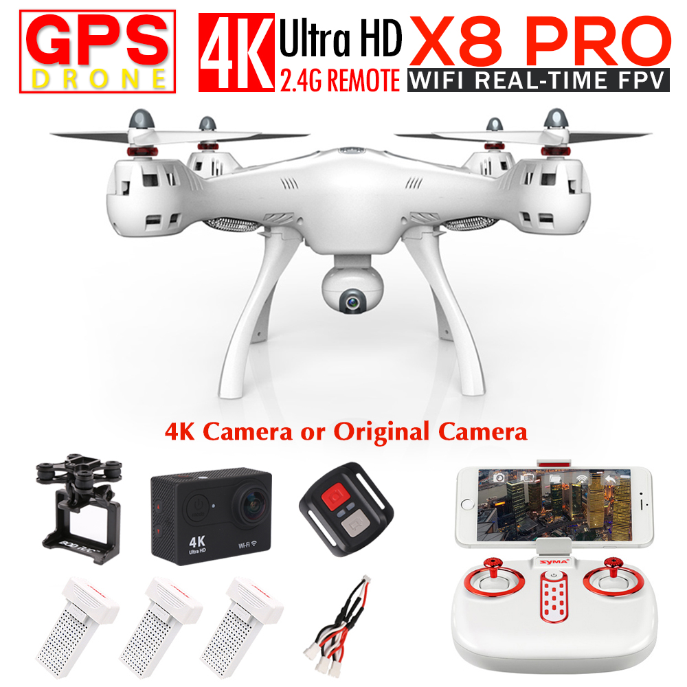 SYMA X8PRO GPS DRON FPV Drone Avec 720 P Caméra ou 4 K Wifi Caméra 2.4G 6 Axes RTF Maintien D'altitude x8 pro RC Quadcopter hélicoptère