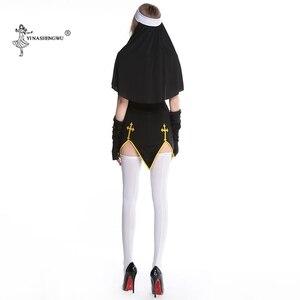 Image 5 - أزياء الهالوين التأثيرية مجموعة ازياء راهبة مثيرة بدلة راهبة نسائية للفيلم راهبة موحدة شكرا فستان الحفلات للاداء المسرحي للسيدات