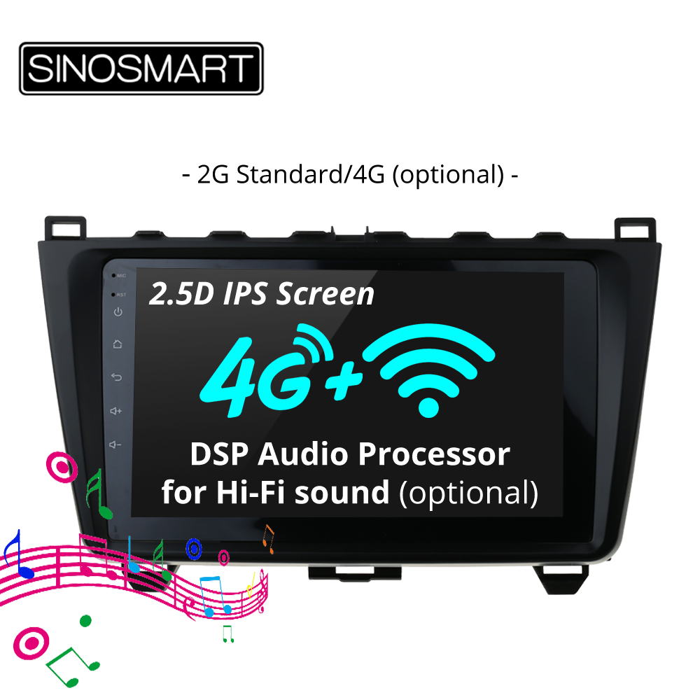SINOSMART Stock in Russia EU 2.5D IPS 2G RAM Car GPS Navigation Player for Mazda 6 2008 2015 32EQ DSP, 4G SIM Card Slot Optional-in Car Multimedia Player from Automobiles & Motorcycles