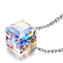 925 Sterling Silver Pendant Necklace Crystal from Swarovski Aurora Crystals Sugar Cube Necklace Hypoallergenic material цена