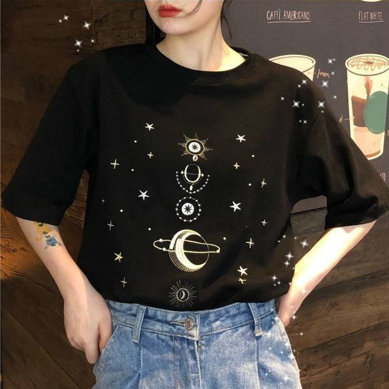 Boho Moon Stars Black White Women Tee Shirt Fashion Casual Cotton Lady T-Shirt New Summer Girl Cool Tops
