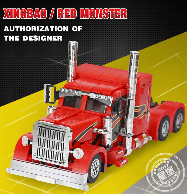 XingBao 03012 1505Pcs Genuine Technic MOC Series The Red Monster Set Children Educational Building Blocks Bricks Lepin Toys Gift lepin 16050 the old finishing store set moc series 21310 building blocks bricks educational children diy toys christmas gift