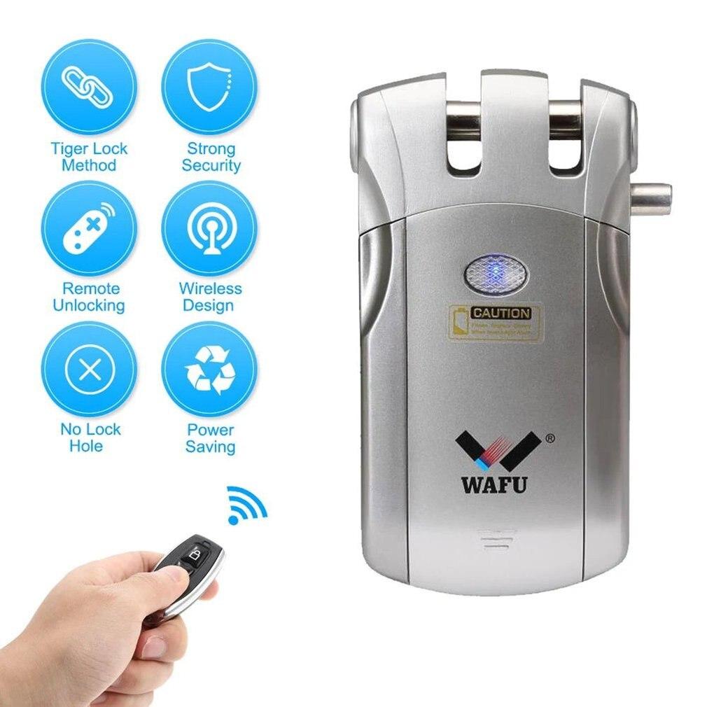 WAFU Sans Fil Télécommande Électronique Serrure Invisible D'entrée Sans Clé Serrure De Porte avec 4 À Distance Contrôleurs Argent