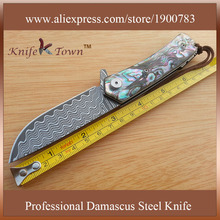 DS056 2016 new damascus steel blade camping knife color shell handle folding outdoor knife portable knife