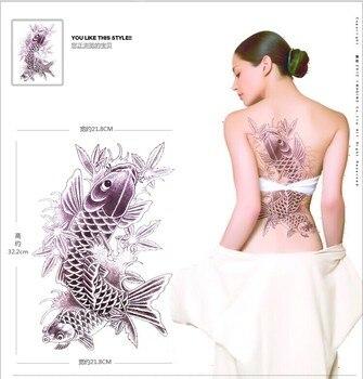 Preto Koi Goldfish grandes adesivos grande tatuagem temporária warterproof para as mulheres de volta