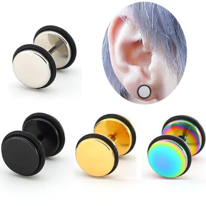 Mens Womens Black Circle Stud Earrings with Hat Skull Red Blue Steel Cheater Fake Ear Gauges
