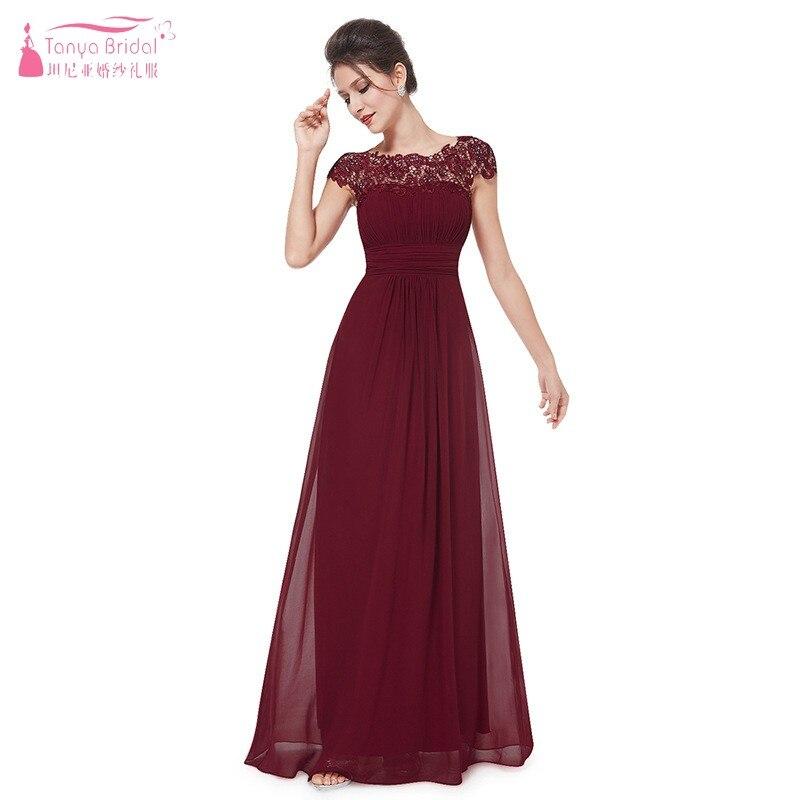 Bridesmaid Dresses Long Chiffon Applique Prom Dresses Cheap Floor Length Wedding Bridesmaid Gown Formal Burgundy Dress 2019 JQ08