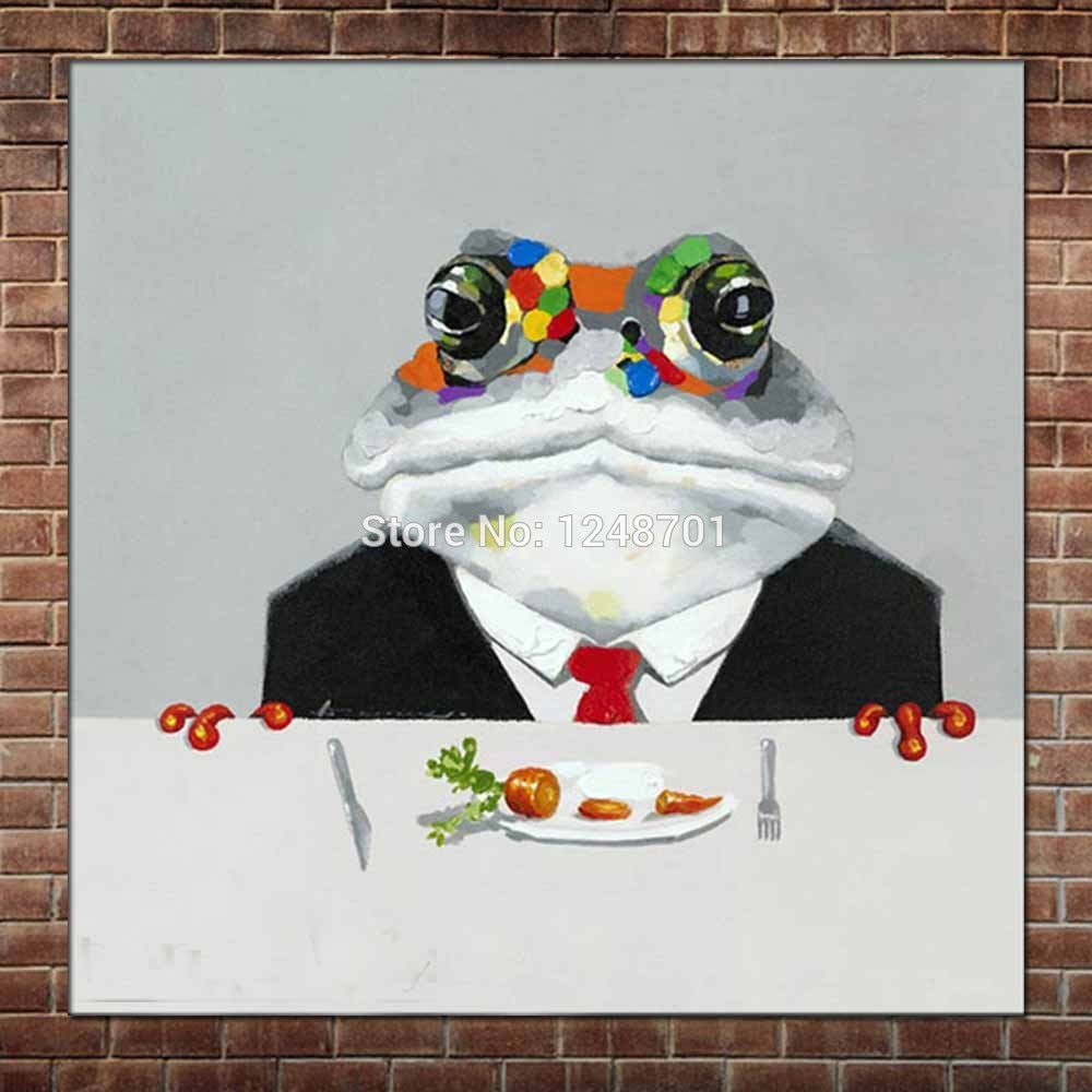 Hand Painted Abstract Art Cartoon Frog Oil Paintings On Canvas Colorful Frog Wall Picturers Children's Room Wall Home Decoration