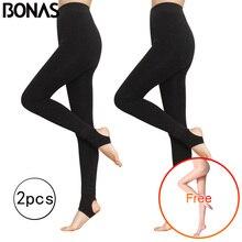 BONAS 2Pcs Women Warm Leggings Fitness Soft Comfortable Leggins Female Velvet Plus Size Elasticity Winter