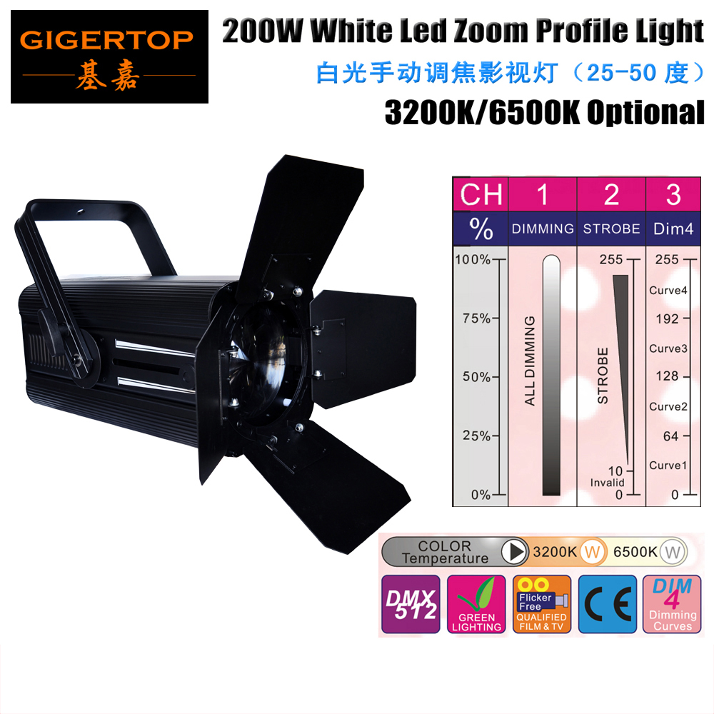 TIPTOP TP-015 200W White Led Zoom Studio Light DMX512/Manual Control 4 Dimming Curve Master/Slave Strobe Effect Zoom Par Cans