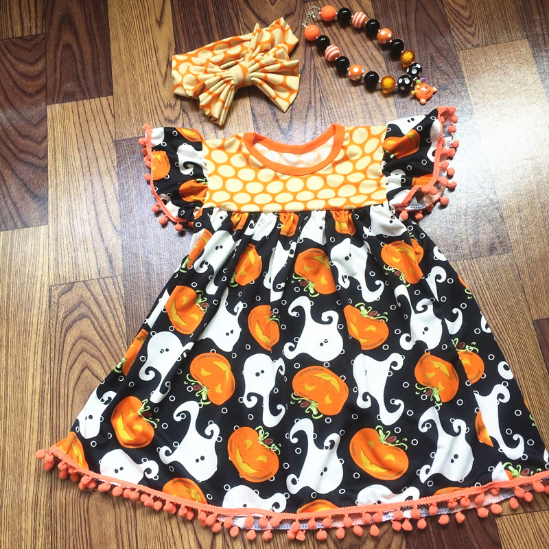 High quality beautiful children top wholesale girls Halloween dress with matching bow and necklace kids halloween outfits sets halloween orange petal pettiskirt with matching white long sleeve top with orange ruffles
