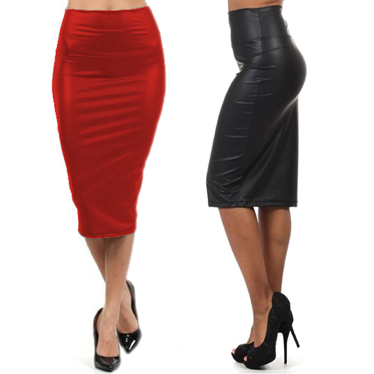 High waist Leather Skirt M LXL  Black red sexy Pencil skirts middle long Casual mermaid skirt party bar club travel
