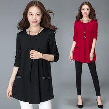 цена на #2522 Plus Size T Shirt For Women 4XL Cotton Loose Pockets Long Sleeve Tops Ladies O-neck Long T Shirt Black Red Spring Autumn