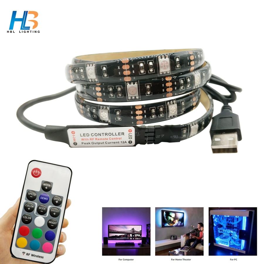 USB HA CONDOTTO LA Luce di Striscia 5050 RGB 1 m 2 m ha condotto il nastro Non Impermeabile TV Sfondo di Illuminazione di striscia di rgb 5050 con il Regolatore di RGB