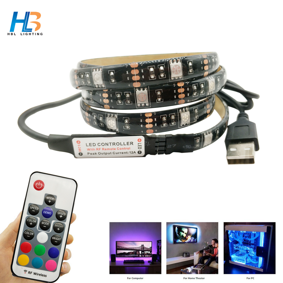 USB LED Strip Light 5050 RGB 1M 2M led ribbon Non Waterproof TV Background Lighting rgb strip 5050 With RGB Controller 1m 2m 5m 30cm 4 pin rgb led connector extension cable cord wire with 4pin connector for rgb led strip light free shipping