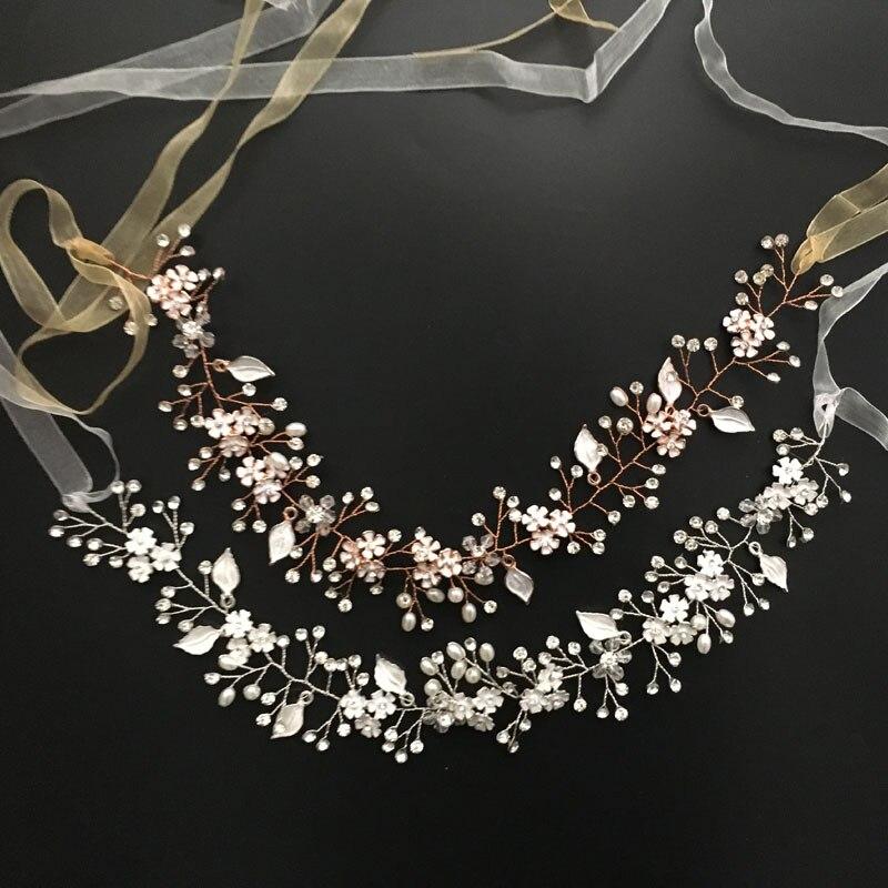 002889b2 Gorgeous Rose Gold Crystal Rhinestone Pearls Wedding Hair accessories Hair  Vine Hairband Bridal Headband Bridesmaids Jewelry