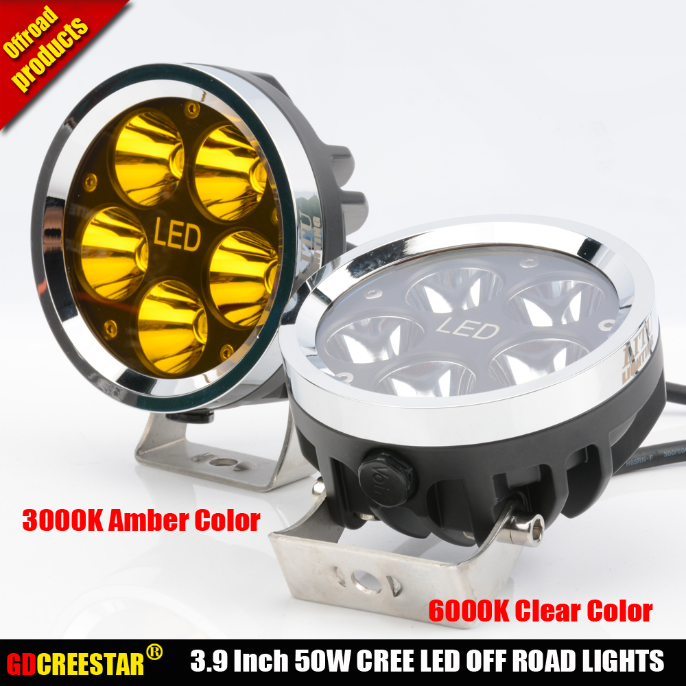 Car Led Tractor Work Lights 4 inch Round 50W Mini Led Off Road Lights 4x4 4WD Led Driving lights x2pcs/lots Free Shipping - 3