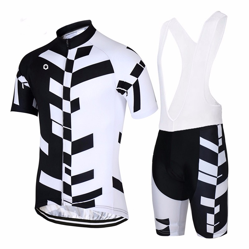 CUSROO 2017 black white simple short sleeves cycle Mens Pro Team Cycling Jersey Sets comfortable outdoor sportswear sets