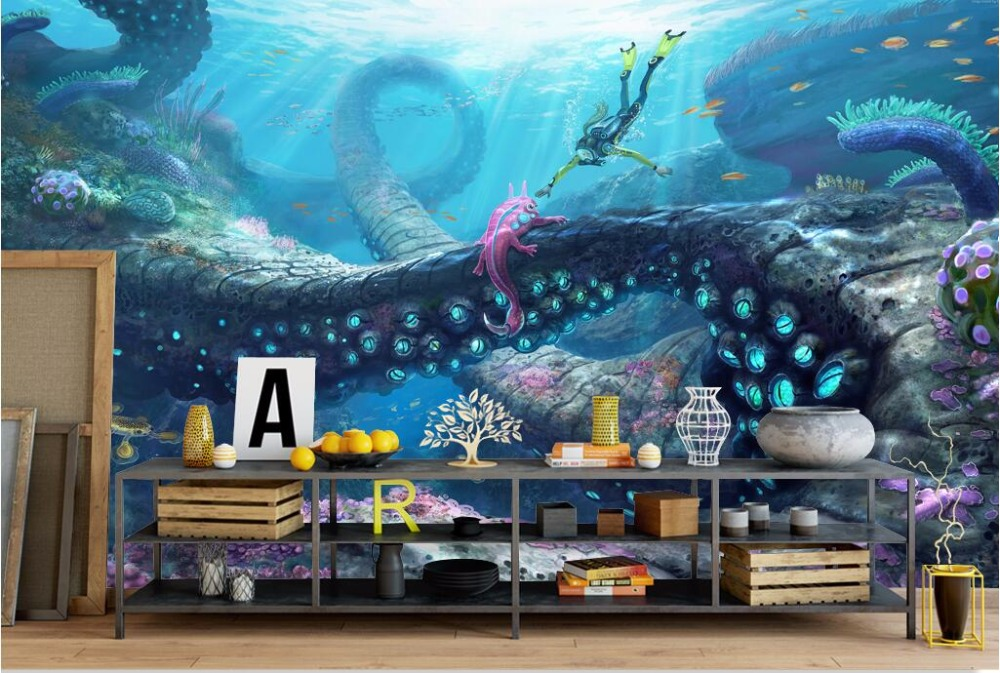 Custom mural 3d photo wallpaper undersea world anime decor painting 3d wall murals wallpaper for living room walls 3 d free shipping custom modern large scale murals bedroom children room wallpaper wandering dino s wallpaper 3d wall mural