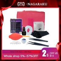 NAGARAKU Professional Makeup Eye Lashes Tools kit ,fashionable eyelashes extension set with glue ,eye pad , tape eyelahes brusth