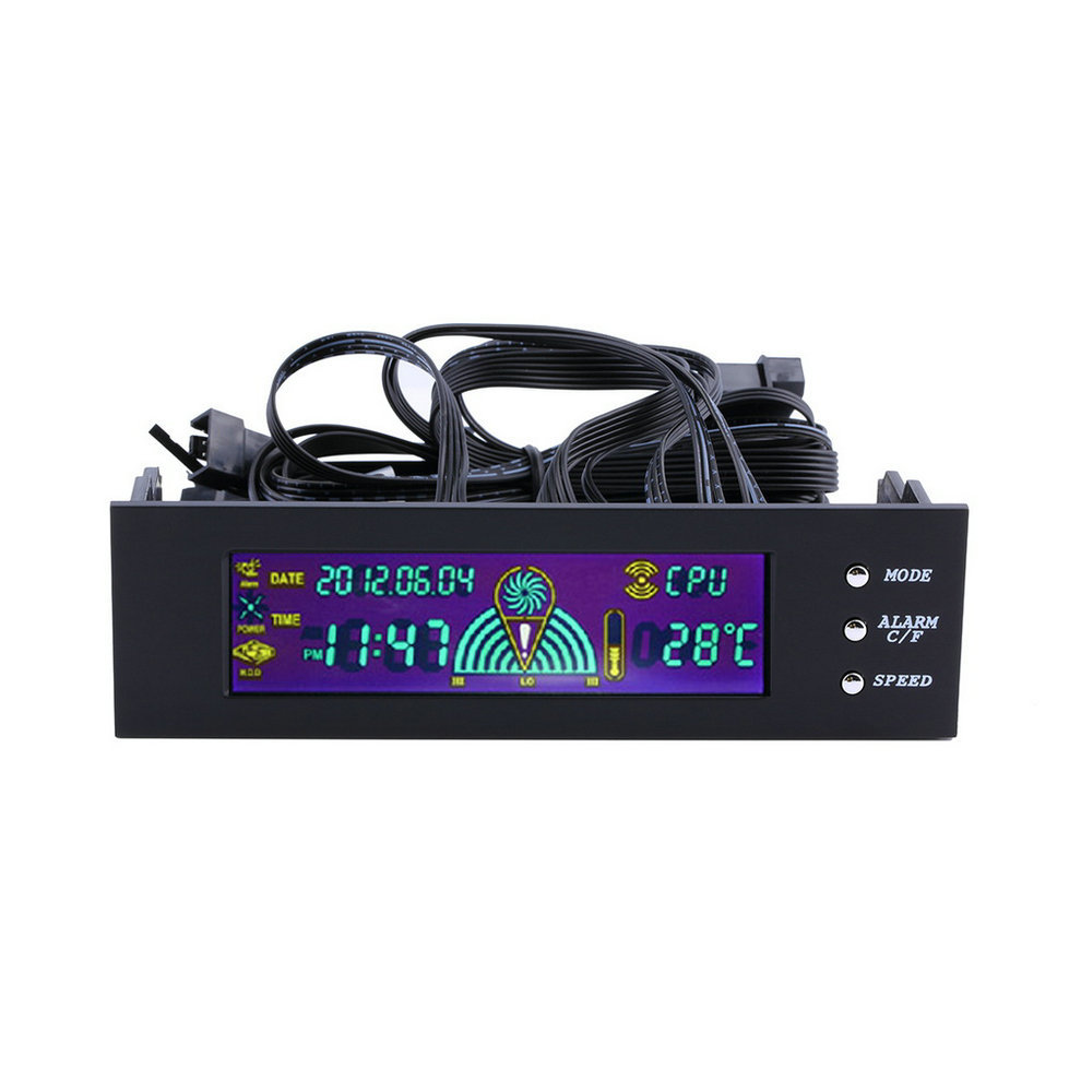 5,25 Nuevo 2017 pulgadas PC ventilador controlador de velocidad pantalla LCD de temperatura Panel frontal