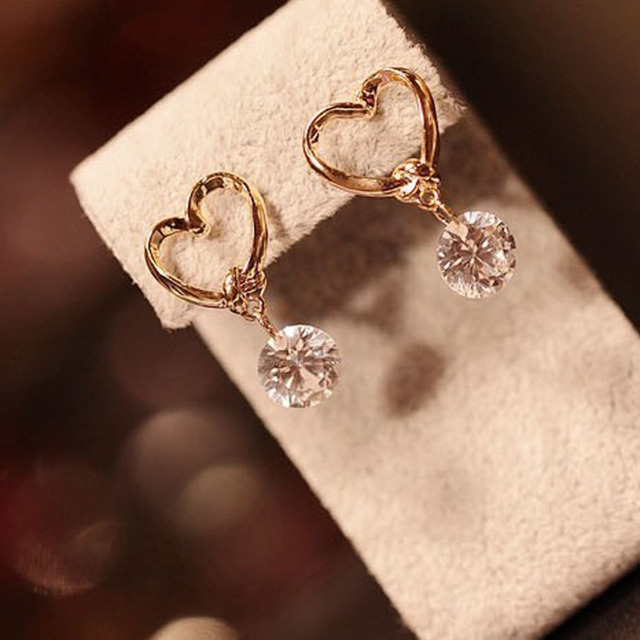 2017 S Cute Heart Shaped Earring Rhinestones Zircon Woman Gold Color Valentine Day Gift Jewelry