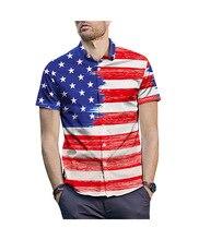 Star Stripe Creative Printed Shirts Loose Fatty Size European and American Popular 2019 New Summer Amazon